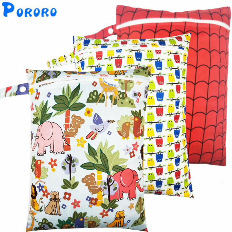 10 PCS Diaper Wet Bag Baby Waterproof Cloth Diaper Bag Single Pocket Zipper Print Reusable Baby Nappy  PUL Wet Bag 30x40cm