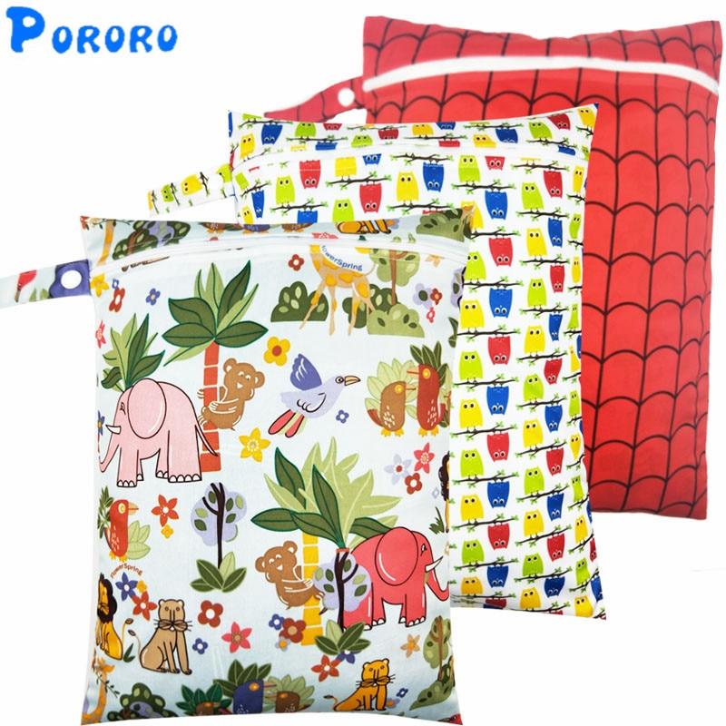 10 PCS Diaper Wet Bag Baby Waterproof Cloth Diaper Bag Single Pocket Zipper Print Reusable Baby Nappy  PUL Wet Bag 30x40cm