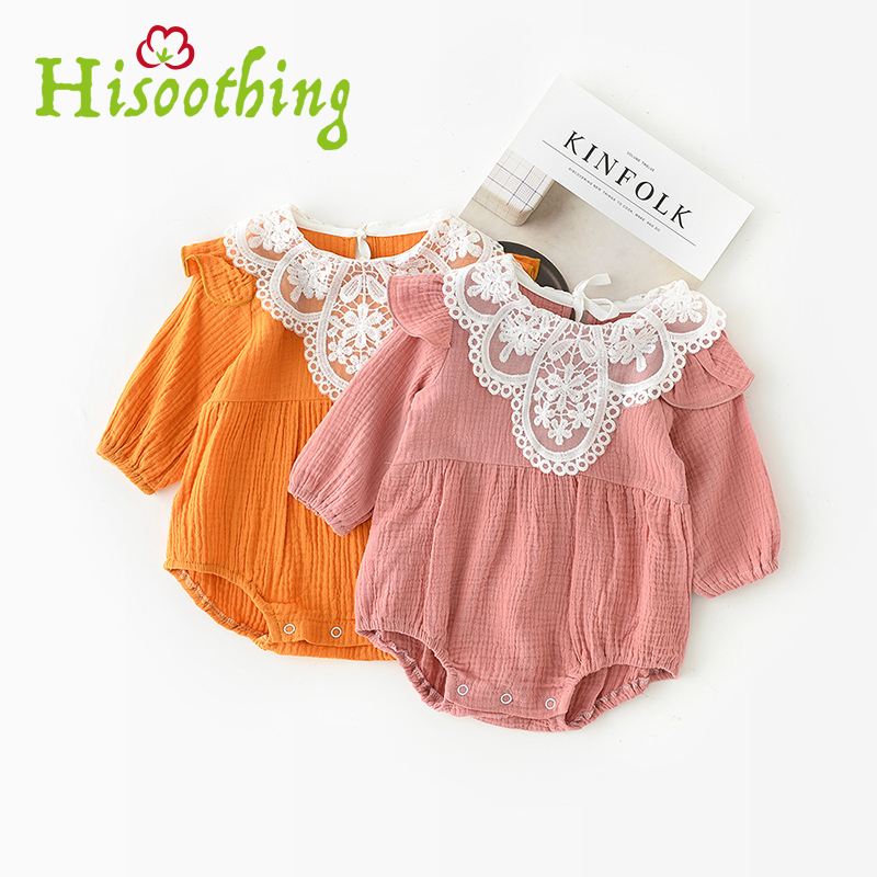 2018 Newborn princess girl baby clothes Spring/summer baby girl long-sleeved jumpsuit lace Lace-lined jumpsuit 0-2 years old 2018 europe the united states new spring autumn girls plaid dress long sleeved simple lace dress 2 7 years old baby girl clothes