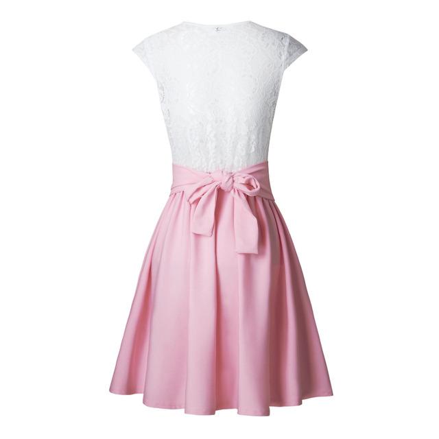 Loneyshow 2017 Summer Dress Elegant Women Vestidos O-Neck Office Dress Short Sleeve Plus Size Bodycon Slim Party Lace Dresses