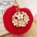 Fluffy 8CM Rabbit Fur Pompom Keychain Crystal Car/Bag Charm Key Chain Fur Pompons Keychain Flowers Pompoms Porte Clef Chaveiro