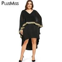 PlusMiss Plus Taille 5XL Sexy Élégant Mousseline de Soie Crochet Haut Bas robe Femmes de Grande Taille En Maille Sheer Manteau Manches de Soirée Partie robes