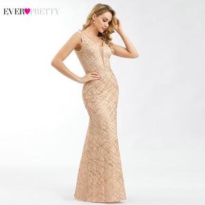 Image 3 - Ever Pretty Rose Gold Prom Dresses V Neck Elegant Evening Party Gowns Sparkle Little Mermaid Dresses Robe De Soiree Paillette