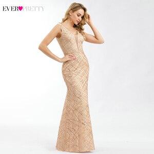 Image 3 - Ooit Pretty Rose Gold Prom Dresses V hals Elegant Avond Party Jurken Sparkle Little Mermaid Jurken Robe De Soiree Paillette
