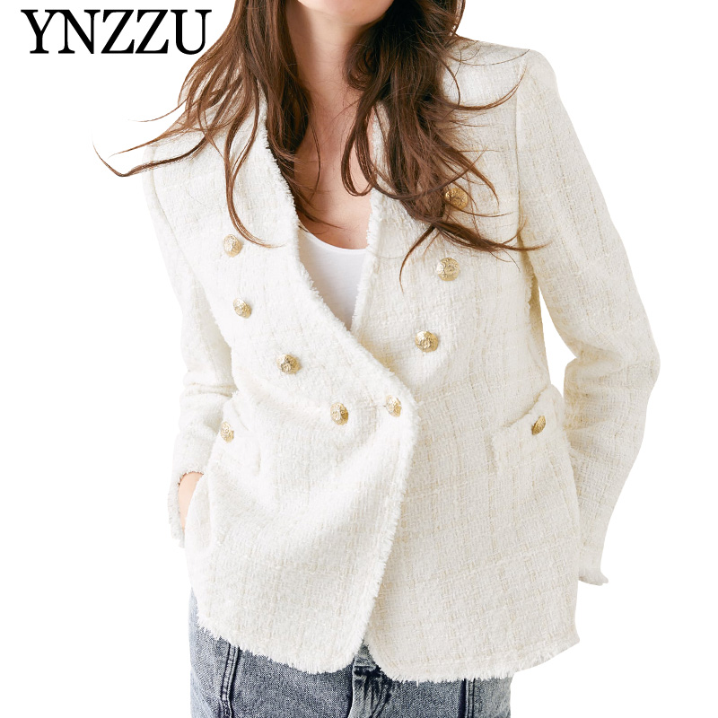 YNZZU 2019 Autumn White V neck tweed women jacket Double breasted  long sleeve blazer Loose office lady solid suit YO811