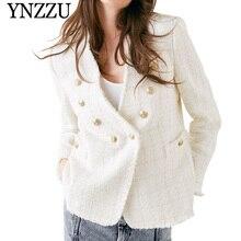 YNZZU 2019 Autumn White V neck tweed women jacket Double breasted  long sleeve blazer Loose office lady solid suit YO811