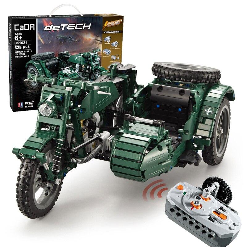 629 pièces WW2 série militaire RC moto Compatible avec la technologie des blocs de construction briques modèle armée soldats arme véhicules