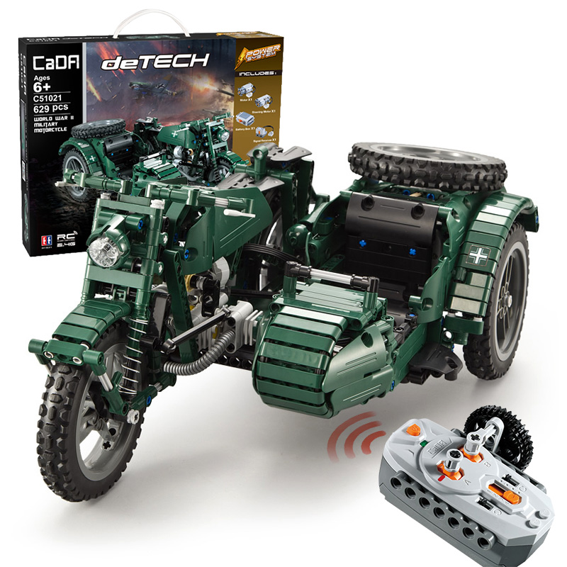 629pcs WW2 Military Series RC Motorcycle Compatible Legoingly Technic Building Blocks Bricks Model Army Soldiers Weapon Vehicles