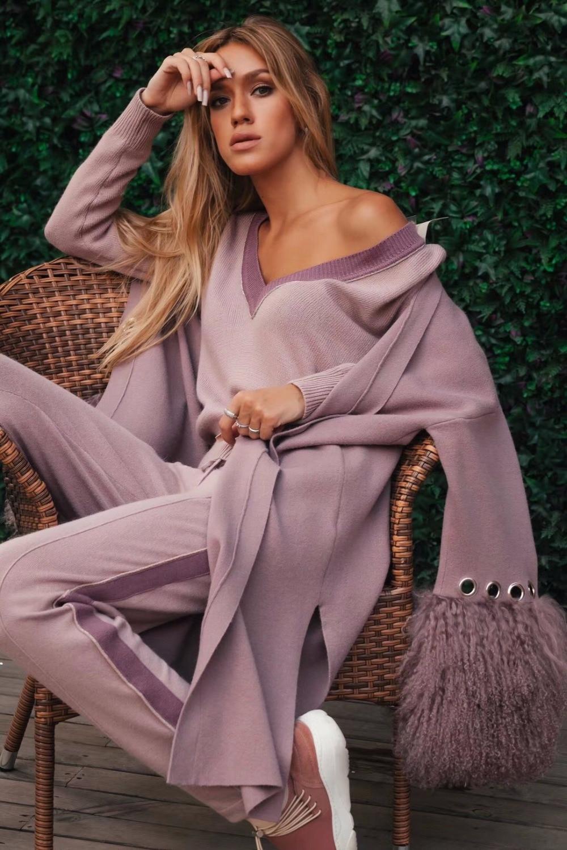 2018 настоящий Полный Новый кашемировый вязаный костюм из 2 предметов женский океан бисером два носить v-образным вырезом свитер брюки компле...