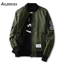 2018 Man Pilot Bomber Jacket with Patches Green Both Side Wear Men Pilot Jackets Thin Male Wind Breaker Jacket Mans Coat XT441