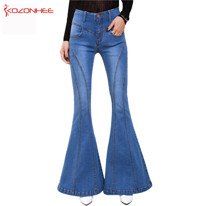 Flare Jeans ქალის ელასტიური Bell, ქვედა ჯინსი გოგონებისთვის შარვალი ქალის შარვალი დიდი ჯინსის დიდი ზომის შარვალი KOZONHEE