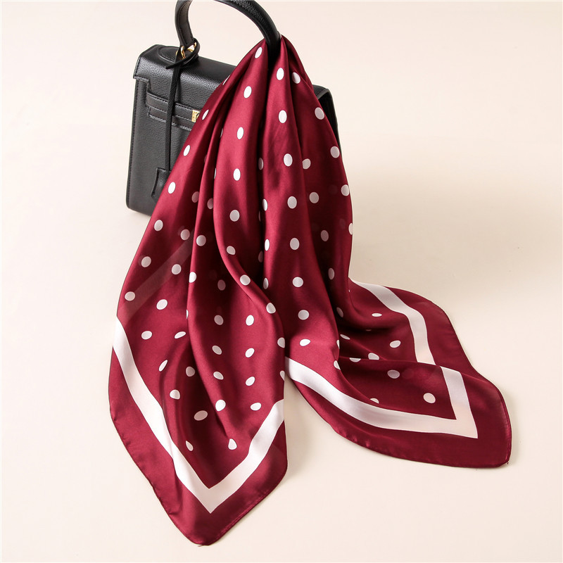 2017 NEW Fashion Luxury Brand Dots Print Pure Square Silk   Scarf   Shawl Foulard Square Head   Scarves     Wraps