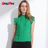 Summer Women Chiffon Lace Blouse 2015 Sweet Sleeveless Office Green White Mesh Lace Casual Tops T