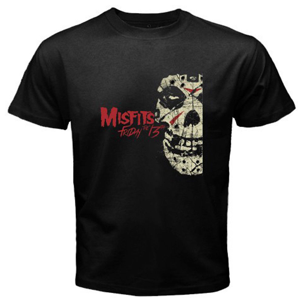 New Misfits Friday The 13th Album Mens Black T-Shirt Size S M L XL 2XL 3XLBand Logo Tee Shirt For Men