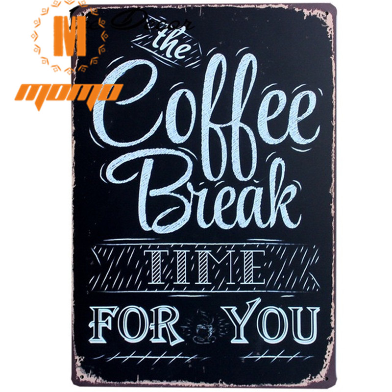 [ MOMO ] COFFEE BREAK TIME Wall Painting ART Home Bar Painting Cafe Metal Retro Poster Decor Mix order Party Backdrops