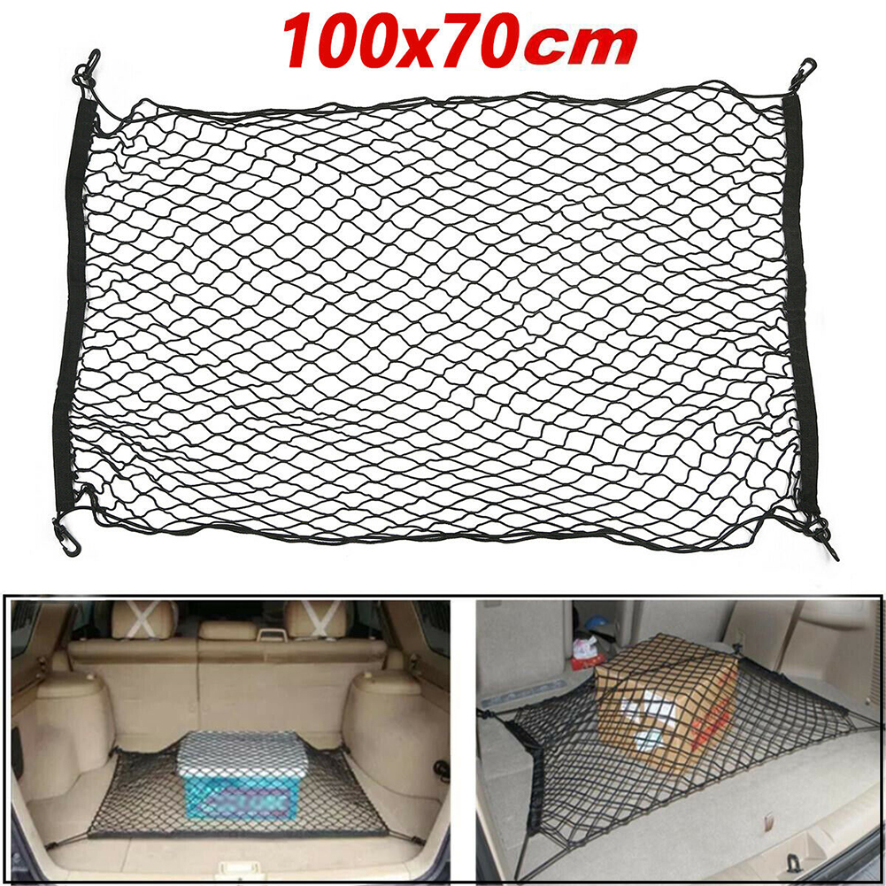 Car Back Rear Trunk Seat Elastic String Net hook up Mesh Storage Bag Pocket Cage Auto Organizer Seat Back Bag 100*70cm image