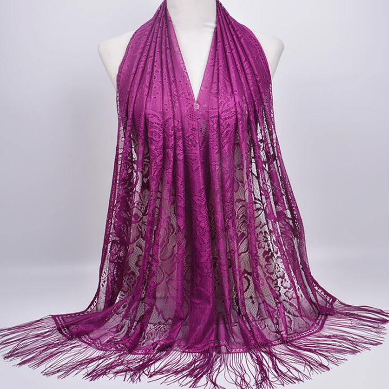New Lace Hollow Scarf Female Hanging Long Towel Solid Color Tie Dyed Wild Scarf Muslim Tassel Scarf