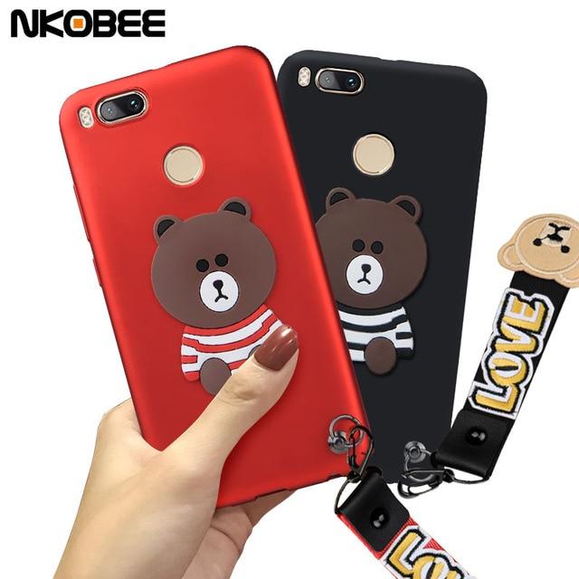 the latest b011d 62a0f US $4.98 |NKOBEE For A1 Xiaomi Case Cute Funda For Xiaomi Mi A1 Case  Silicon 3D Bear Soft TPU Phone Back Cover Xiomi Mi A1 Case Slim-in Fitted  Cases ...