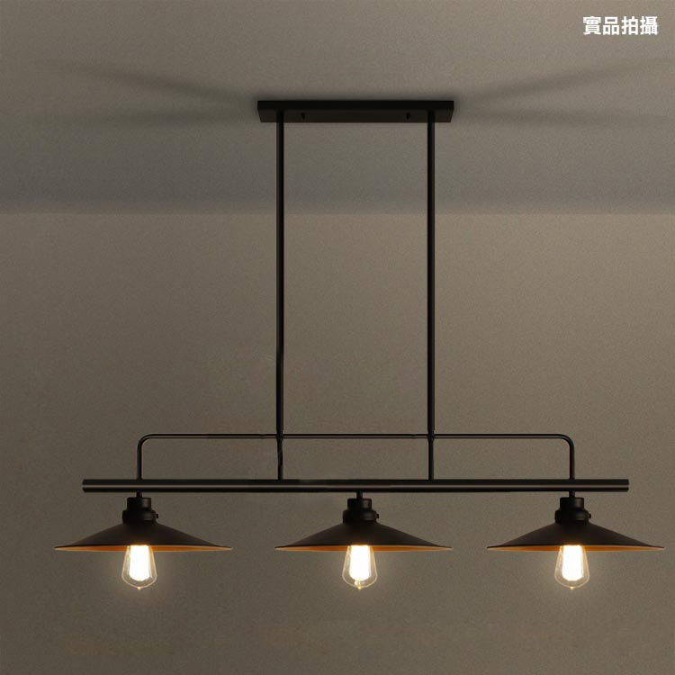 loft retro industrial dining table pendant lamp three end pot cover bar dining room billiard table iron pendant lamp