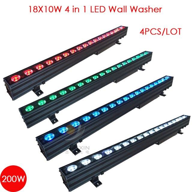 4 stks/partij 18X10 w 4 IN 1 Outdoor Dmx LED Wall Washer Licht voor Tuin Hotel Bruiloft party Achtergrond IP65 Waterdichte Lamp