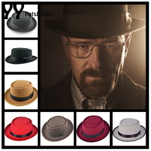 2015 New Wool Felt Pork Pie Crushable Hat BREAKING BAD Hat Walter for Men Women Trilby Wool Cap Chapeu de Feltro 6 Colors YY0768