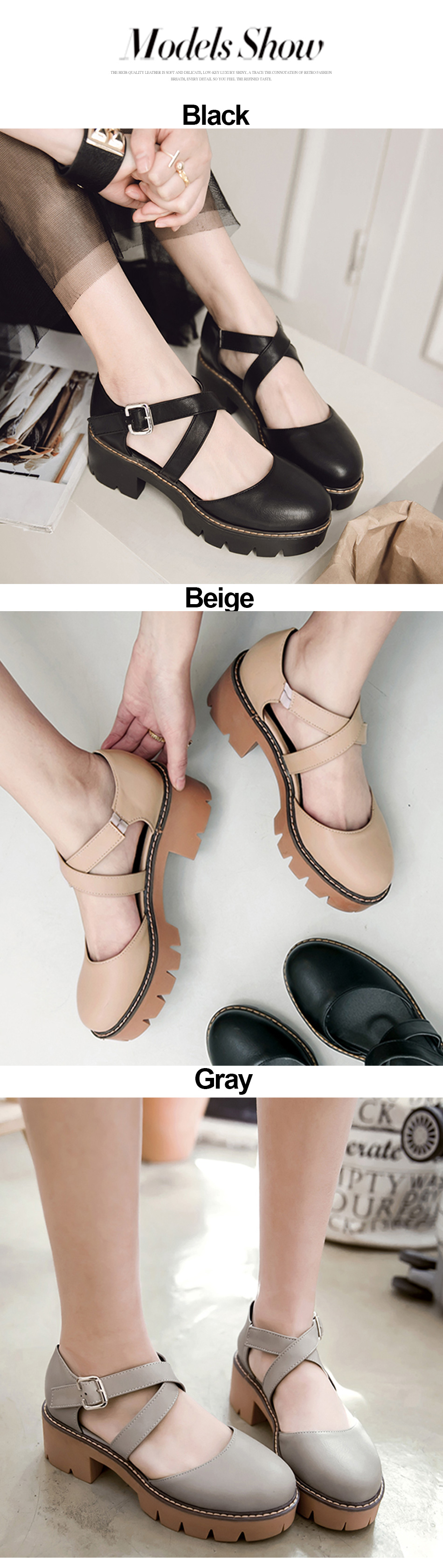 f26eb1742df Gdgydh 2019 New Summer Women Sandals Chunky Heel Round Toe Cut-outs Sweet  Gladiator Ladies Shoes Platform Heels Plus Size 43