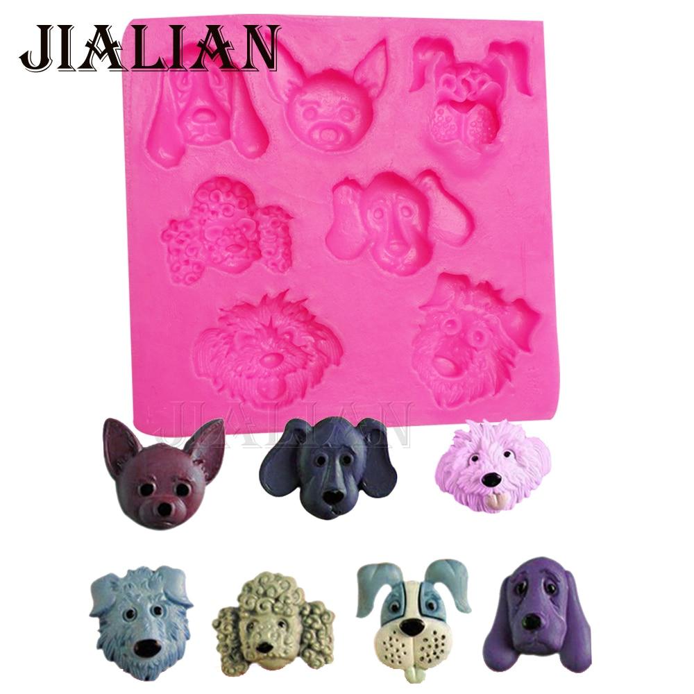 3D Dog Hound pooch Fondant Cake Decorating Tools Paking Mould Cartoon ტყის ცხოველები ფიგურა თიხა / რეზინის სილიკონის ჩამოსხმა T-0869