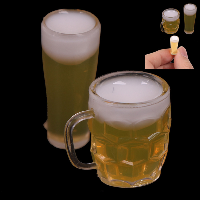 2Pcs Mini Wine Beer Cup Dollhouse Craft 1:12 Scale DIY Parts Plastic Transparent Goblet Miniature Home Decoration Glass Model