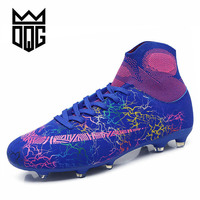 DQG Men Football Boots TF/FG High Ankle Anti slip Soccer Shoes For Children and Adult Athletics Spike Boots Grass Men Cleats