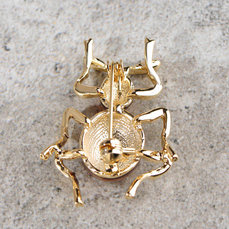 Blucome Green Ant Insect Brooches Women Girls Kids Jewelry Enamel Alloy Brooch Scarf Collar Suit Accessories Gold-color Pins Up
