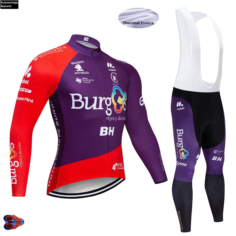2019 BURG TEAM Winter Cycling Jersey 9D Pad Bike Pants Ropa Ciclismo Windproof Thermal Fleece Bike