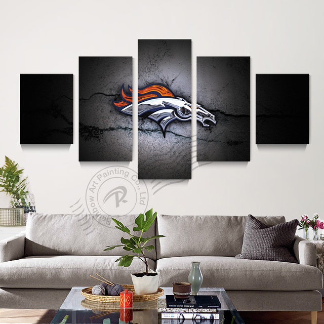 5 Panel Denver Broncos Sport Logo Canvas Oil Painting Home Decor Abstract Modular Wall Picture For