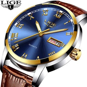 2017 LIGE relojes deportivos para hombre, reloj de cuarzo de negocios a la moda para hombre, reloj de cuero resistente al agua para hombre, relojes multifunción con fecha automática para hombre