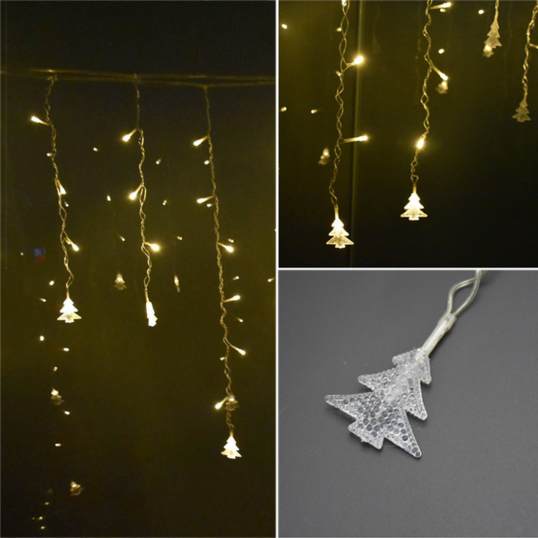 3.5m Curtain Icicle String Light For Party Garden Stage Decorative Light 96 LEDs 220V Christmas Garland LED Indoor Drop LED