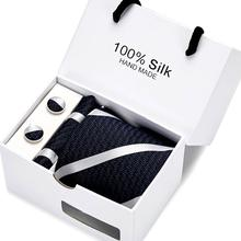 100%silk  Luxury Silk Men Tie Set Hanky Cufflinks With Gift Box Jacquard Woven Neckties For Wedding Party