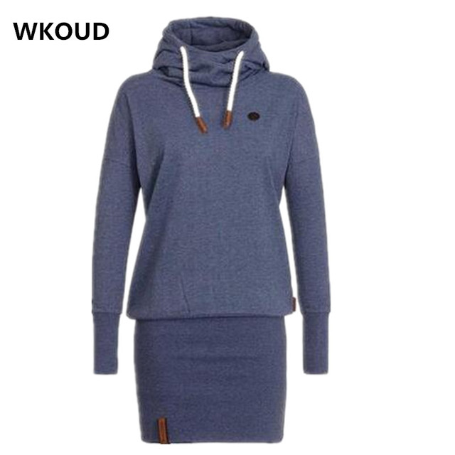 e8395f35b2c WKOUD 2017 New Spring Dress Women Hooded Hoodies Dresses Sweatshirt Ladies  Bodycon Hoodies Pullovers Tunic Dress L8390