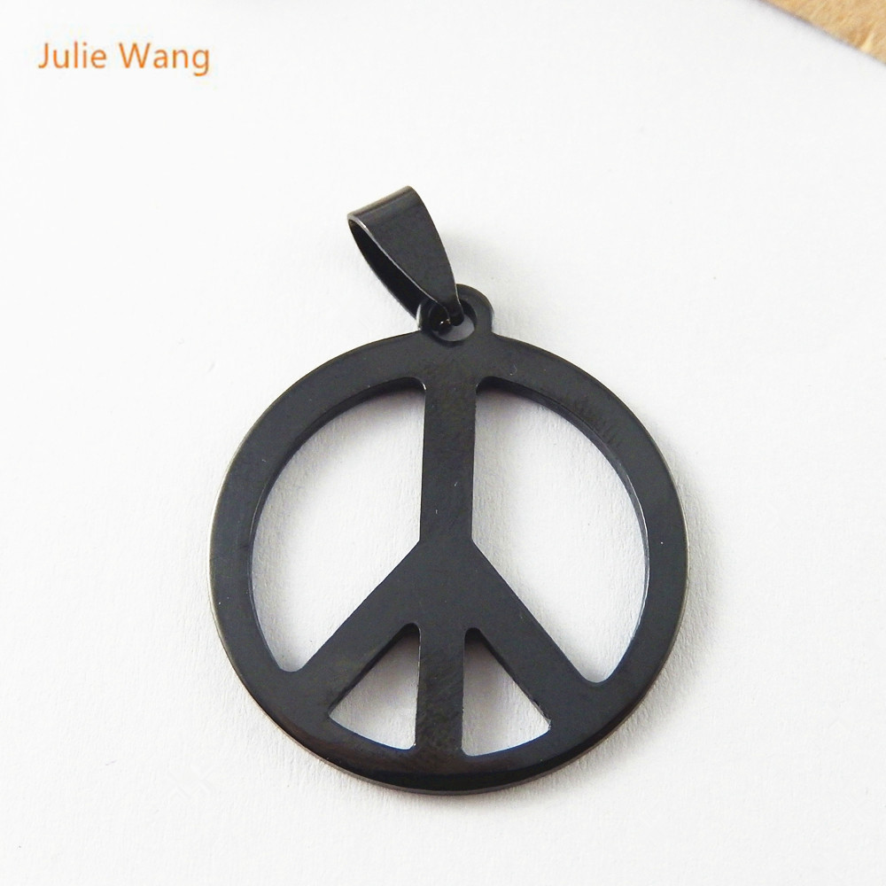 Julie Wang 1PCS Gun Black peace sign Stainless Steel Pendants Charms Jewelry Earring Necklace Handcrafts Finding51473