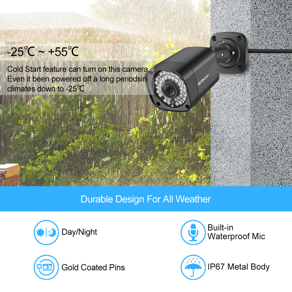 Techege Super HD 5MP POE IP Camera Outdoor Waterproof Night Vision Onvif FTP Email Alarm CCTV Video Surveillance Security Camera