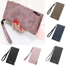 Fashion ladies bag long card ID hand wallet leather clutch solid color zipper ba
