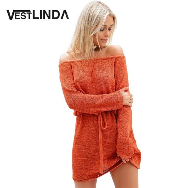 f569f6523ef US $14.26 |VESTLINDA Sexy Off Shoulder Knitted Sweater Dress Women Vestidos  Loose Beach Dress Drawstring Waist Mini Short Dresses Big Size-in Dresses  ...