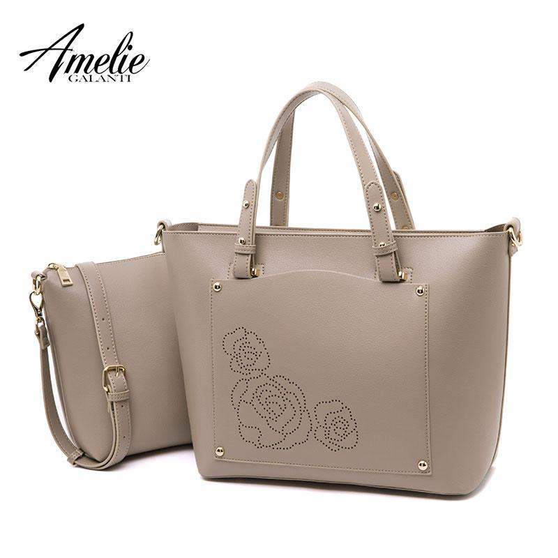 AMELIE GALANTI Women Top Handle Satchel Shoulder Tote Bags Sets tote handbag & crossbody bags large capacity PU leather Solid