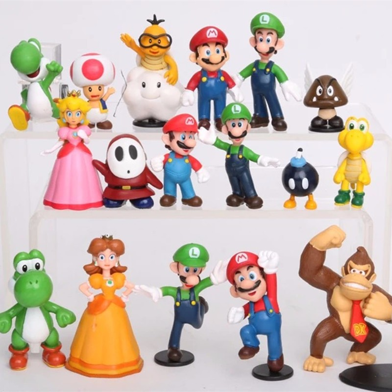5set 18pcs/set games Super Mario Bros Luigi yoshi dinosaur Peach toad Goomba PVC Action Figures doll kid toy Gift brinquedo ML18