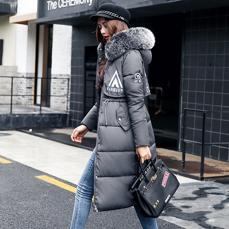 2017 winter wadded jacket female medium-long over-the-knee large fur collar down jacket cotton-padded outerwear plus size linenall women s parkas cotton and linen medium long wadded jacket outerwear female plus size vintage cotton padded jacket ym