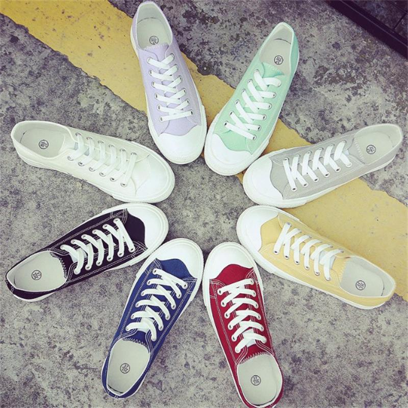 2018 Fashion Spring Summer Women Vulcanize Shoes Lace Up Canvas Ladies Casual Shoes Female Leisure Flat Women Footwear DC32 huanqiu white women vulcanize canvas shoes low breathable female solid color flat shoes casual candy colors leisure cloth shoes