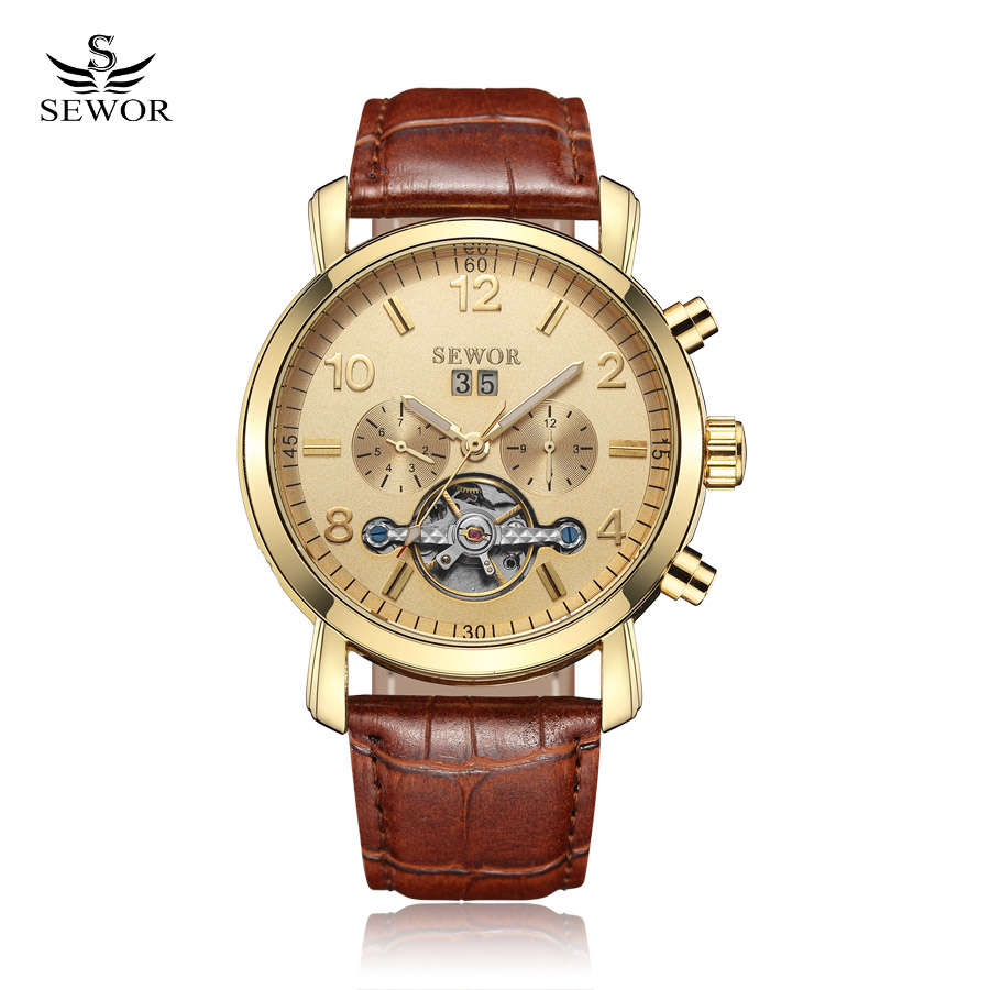 SEWOR Men Tourbillon Full-automatic Mechanical Watch Luxury Fashion Brand Leather Man Calendar Week Multifunctional Watches