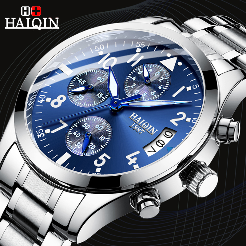 2019 Montre Homme Watch Mens HAIQIN Fashion Military Stainless Steel Watch Business Quartz Watch Clock Date Relogio Masculino2019 Montre Homme Watch Mens HAIQIN Fashion Military Stainless Steel Watch Business Quartz Watch Clock Date Relogio Masculino