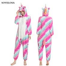 Winter Flannel Kigurumi Pajama Sets Anime Onesies Adults Animal Pijama Cartoon Sleepwear Unicorn Stich Pyjamas Hooded Nightwear