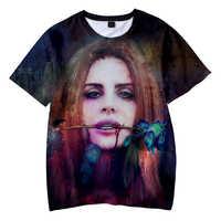 Lana Del Rey 3D Fresco di Stampa Breve Maglietta Del Manicotto Delle Donne della Maglietta Top Streetwear Moda Femminile Vestiti di Cotone Tee Shirt Homme