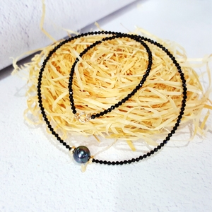 Image 5 - LiiJi ייחודי קולר שרשרת אמיתי שחור ספינל פיאות חרוזים מטהיטי שחור מעטפת פרל 925 כסף זהב צבע מתנה