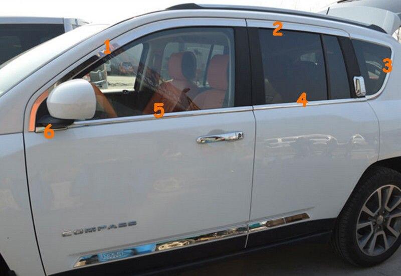 En acier inoxydable 12 pièces pleine fenêtre cadre revêtement d'habillage pour Jeep Compass 2011 2012 2013 2014 2015